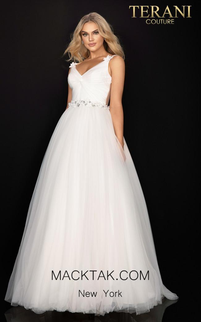 Terani 2011P1173 Ivory Crystal Front Dress