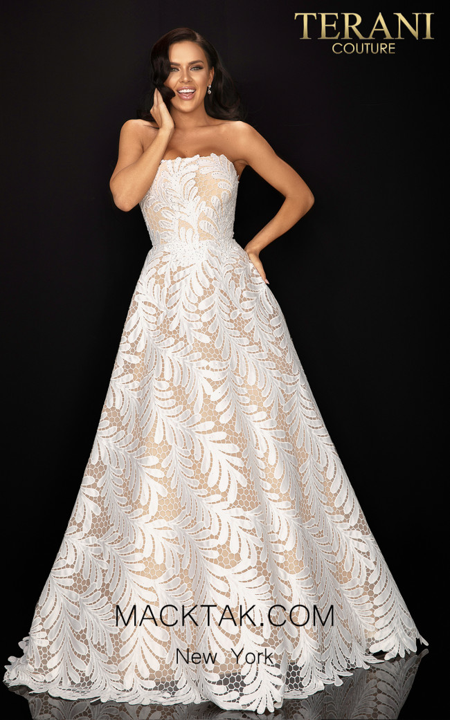 Terani 2011P1183 Ivory Nude Front Dress