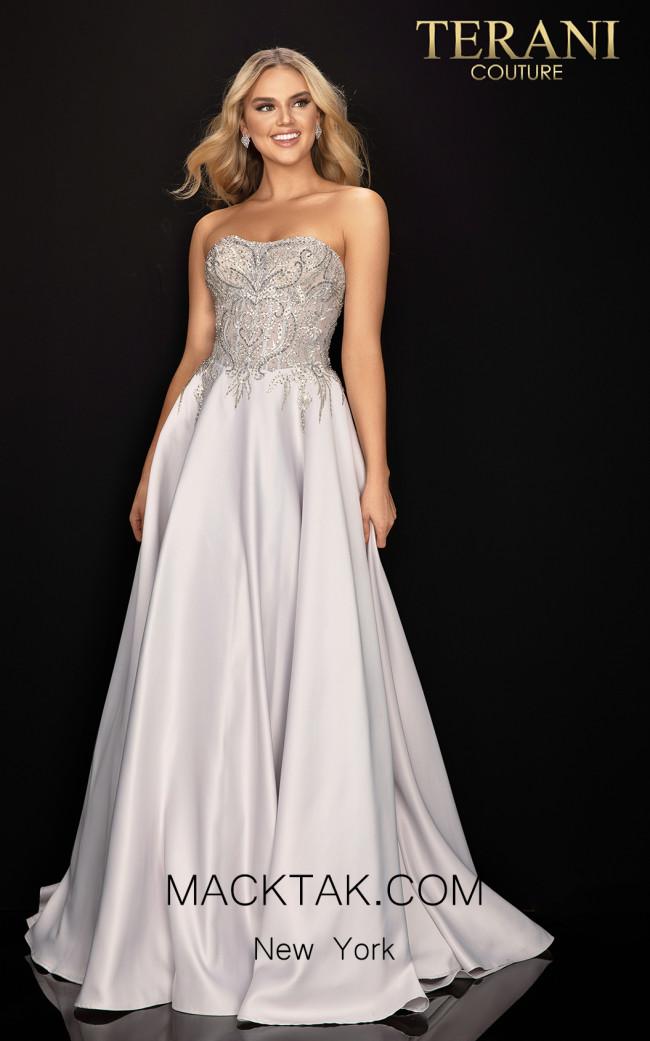 Terani 2011P1197 Silver Ivory Front Dress