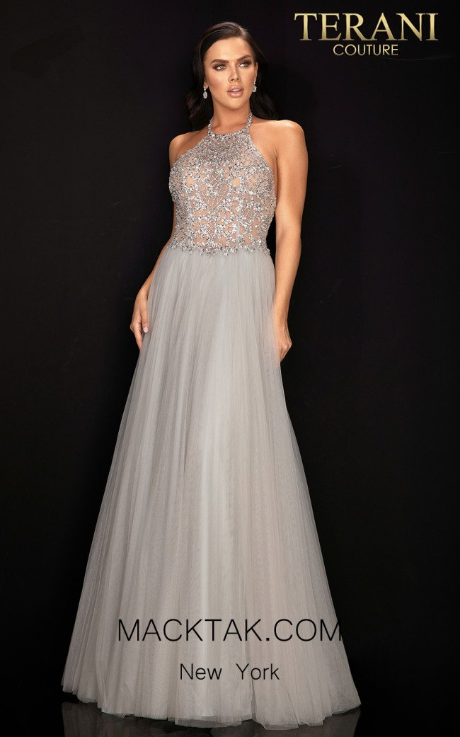 Terani 2011P1199 Silver Front Dress
