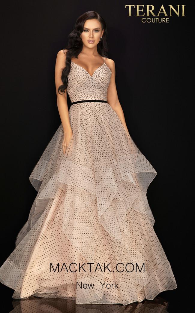 Terani 2011P1200 Blush Black Front Dress