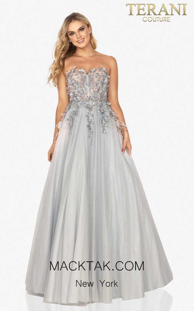 Terani 2011P1206 Silver Front Dress