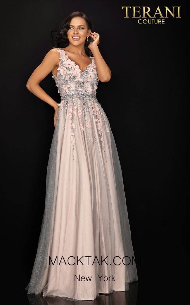 Terani 2011P1207 Silver Blush Front Dress