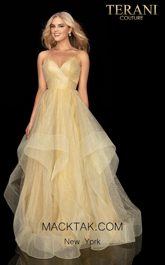 Terani 2011P1213 Gold Front Dress