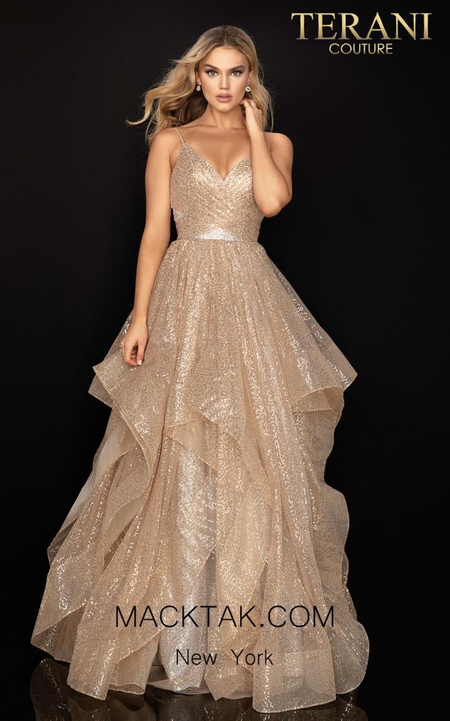 Terani 2011P1214 Gold Silver Front Dress