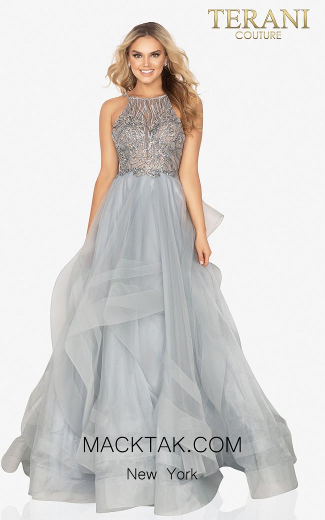 Terani 2011P1222 Silver Front Dress