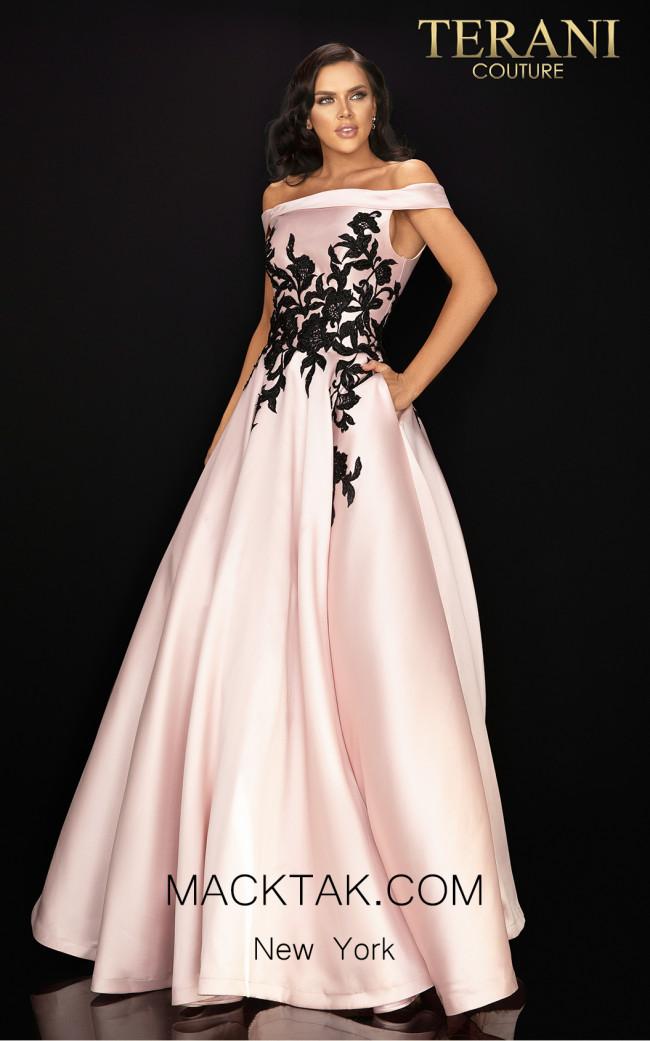 Terani 2011P1229 Blush Black Front Dress