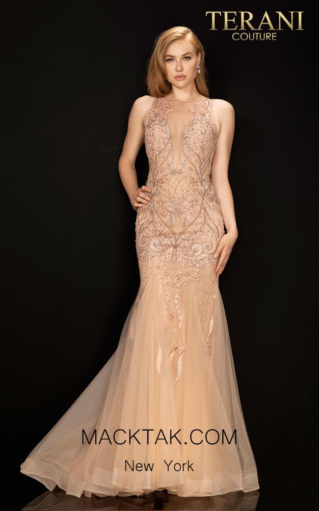 Terani 2011P1452 Blush Mocha Front Dress