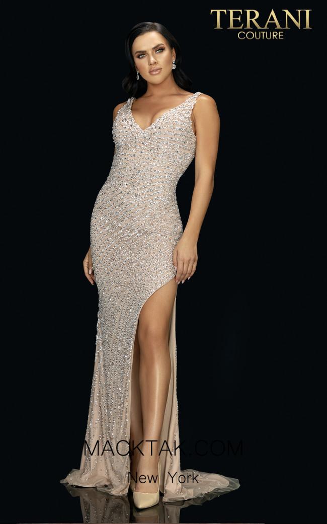 Terani 2011P1460 Ivory Nude Front Dress