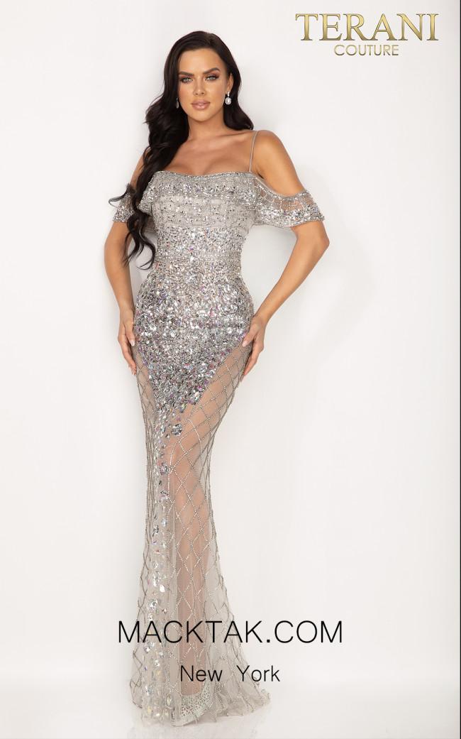 Terani 2012GL2388 Silver Front Dress