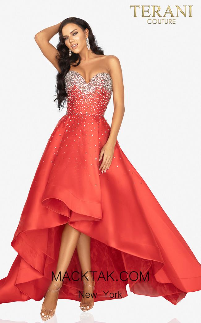 Terani 2012P1286 Red Front Dress