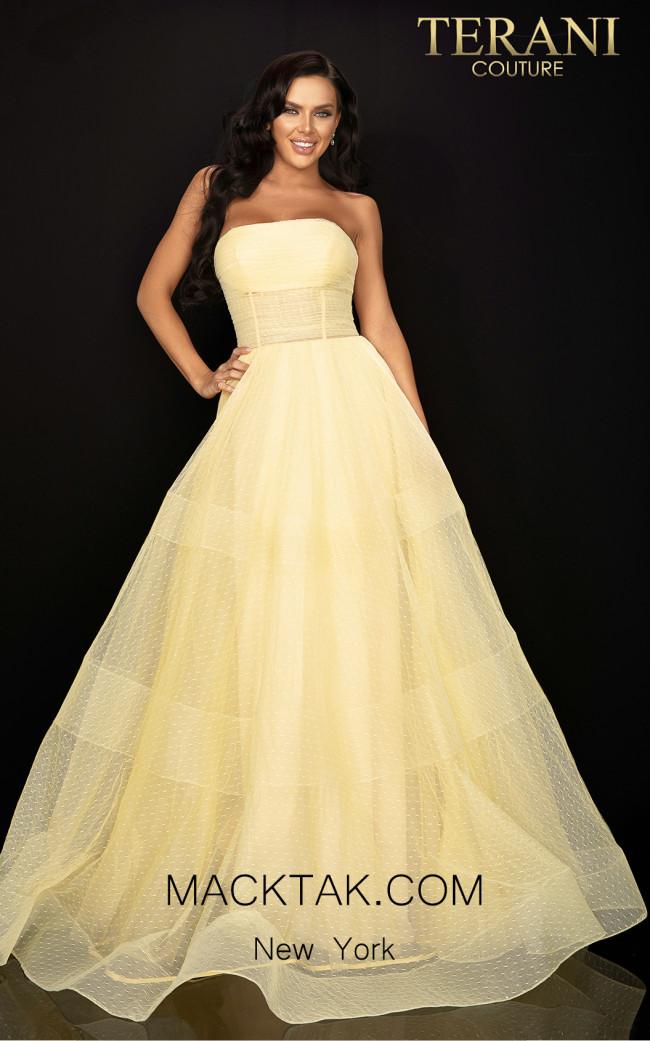 Terani 2012P1399 Yellow Front Dress