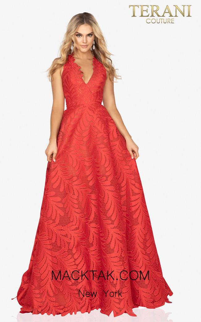 Terani 2012P1407 Red Front Dress