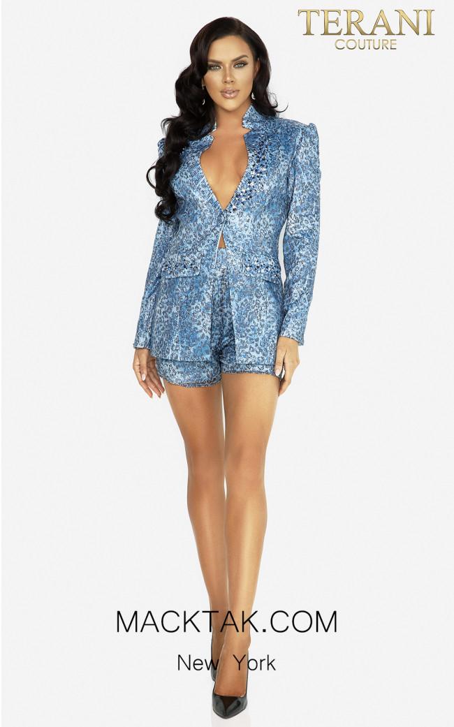 Terani 2017E2301 Blue Black Front Dress