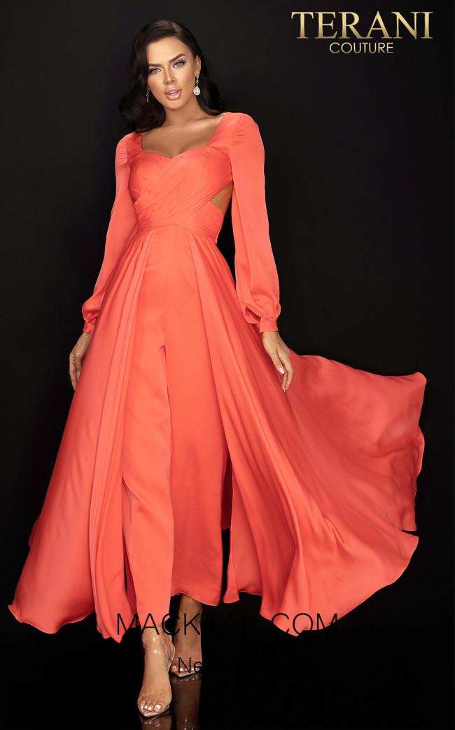 Terani 2017E2309 Coral Front Dress