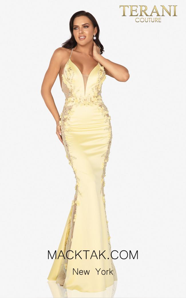 Terani 2017P1307 Yellow Front Dress