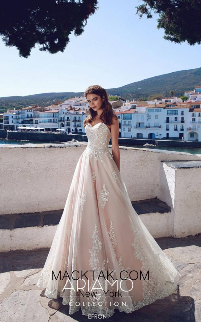 Tesoro By Ariamo Efron Ivory Dark Peach Front Dress