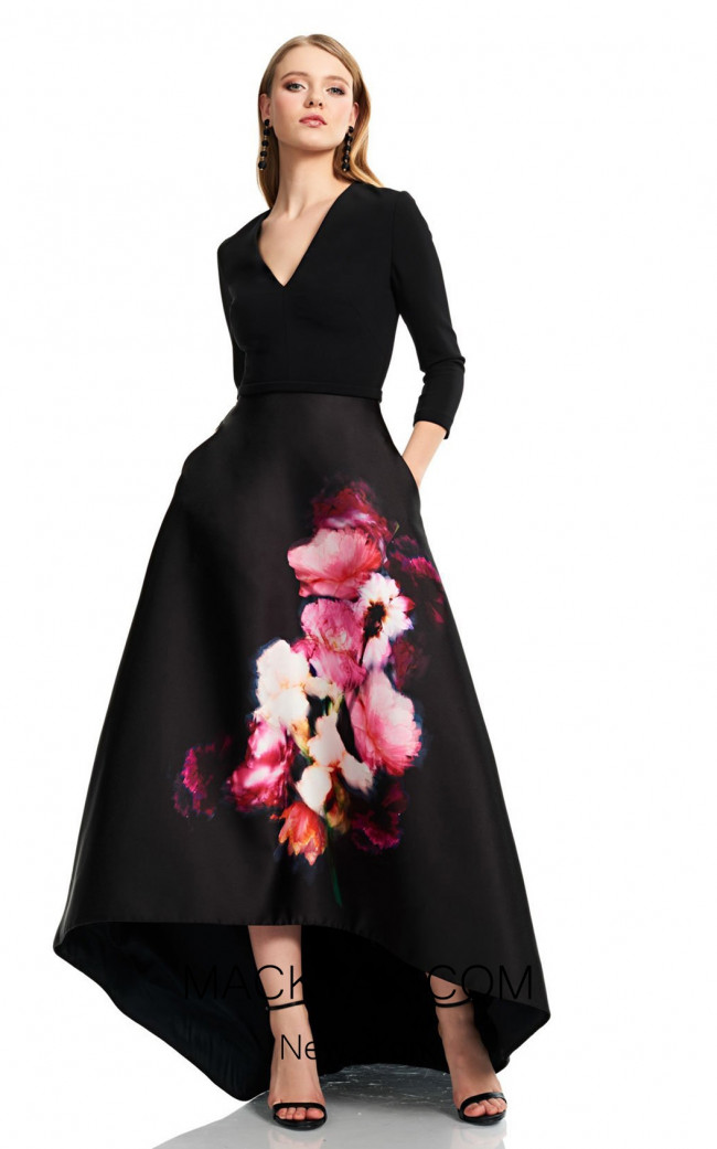 Theia Couture 883724 Black Multi Front Dress