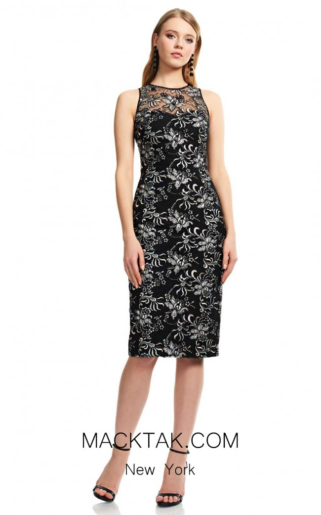 Theia Couture 883703 Black Multi Front Dress
