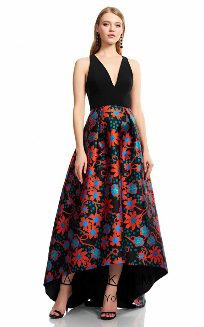 Theia Couture 883705 Black Multi Front Dress
