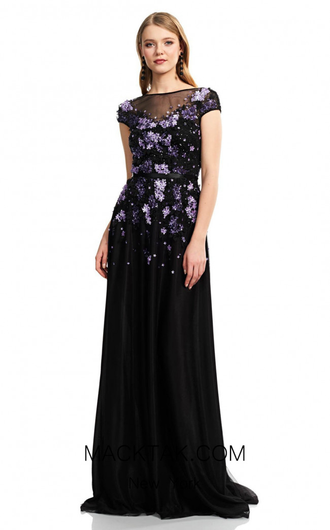 Theia Couture 883706 Black Violet Front Dress