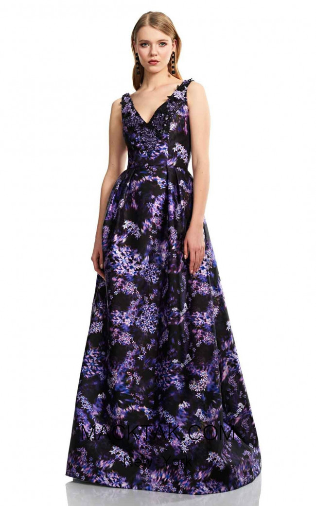 Theia Couture 883707 Black Violet Front Dress