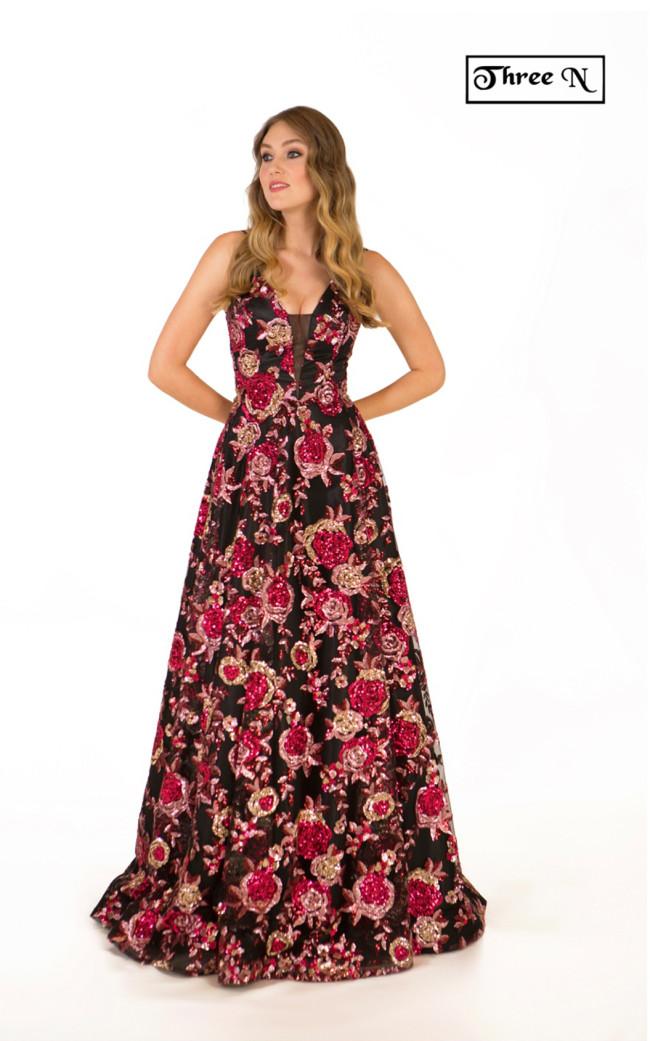 Three N 2745 Black Fuchsia Front Dress