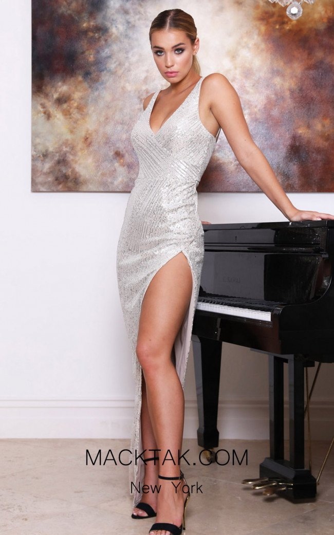 Tina Holly TA007 Silver Nude Front Dress