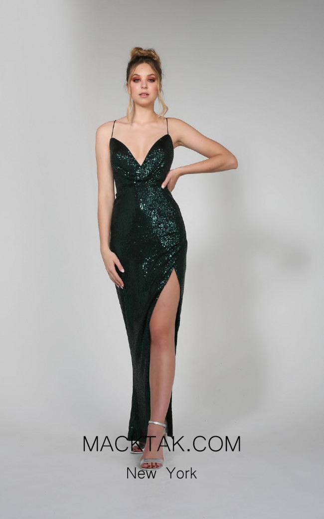 Tina Holly TA113 Emerald Green Front Dress