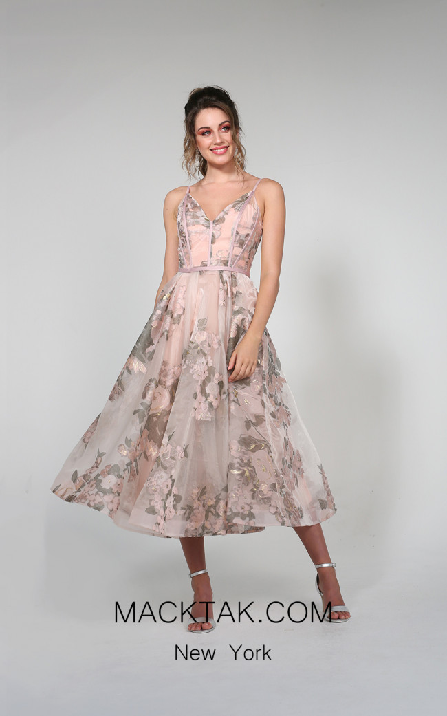 Tina Holly TA815 Floral Pink Front Dress