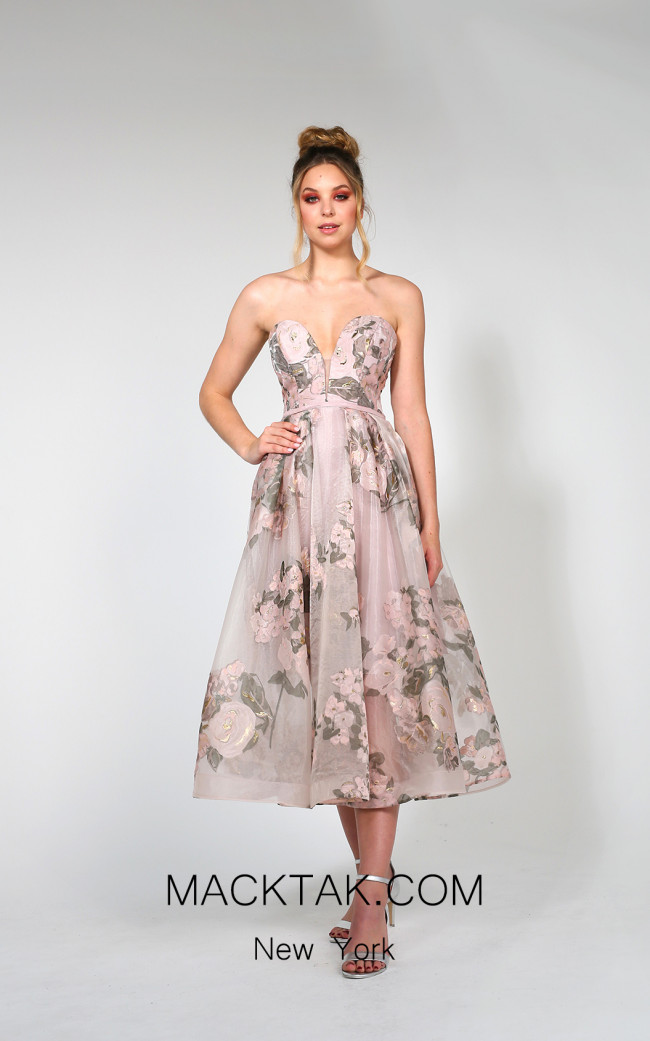 Tina Holly TA819 Floral Pink Front Dress