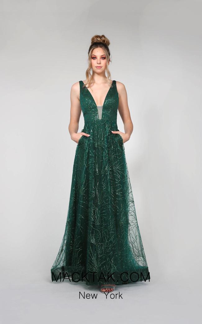 Tina Holly TA919 Emerald Green Front Dress