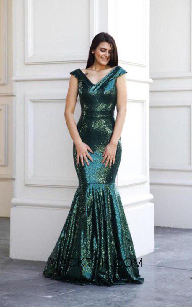 TK AS128 Green Front Evening Dress