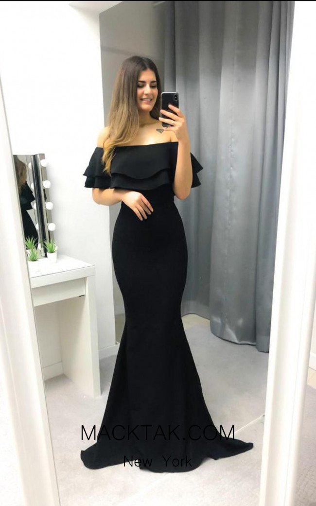 TK AS151 Black Front Evening Dress