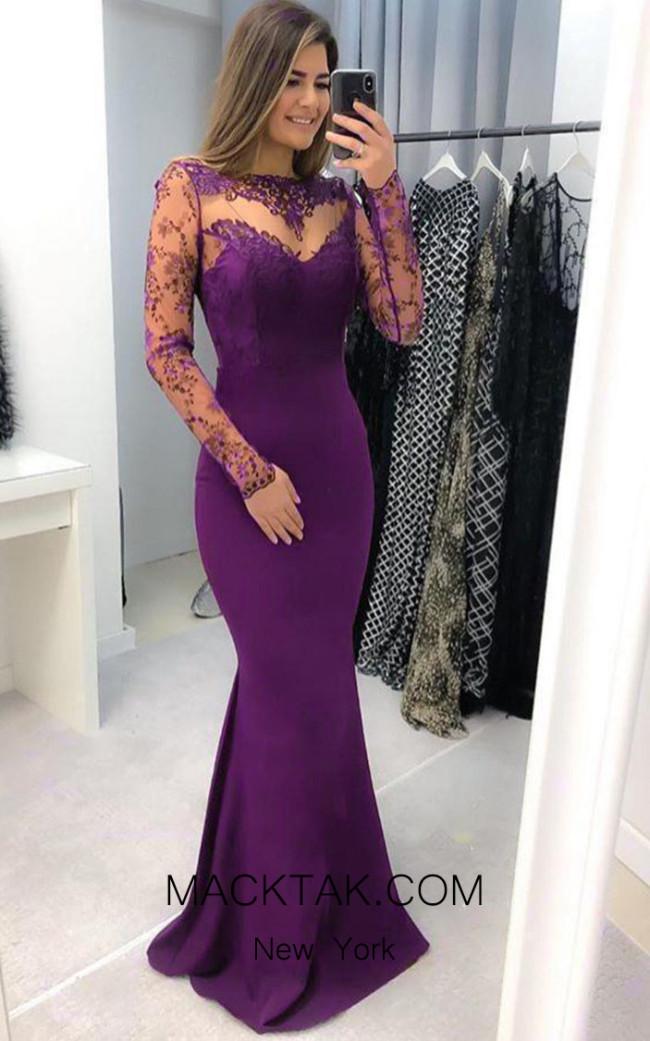 TK AS158 Purple Front Dress