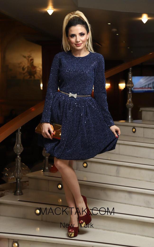 TK DA001 Navy Front Evening Dress