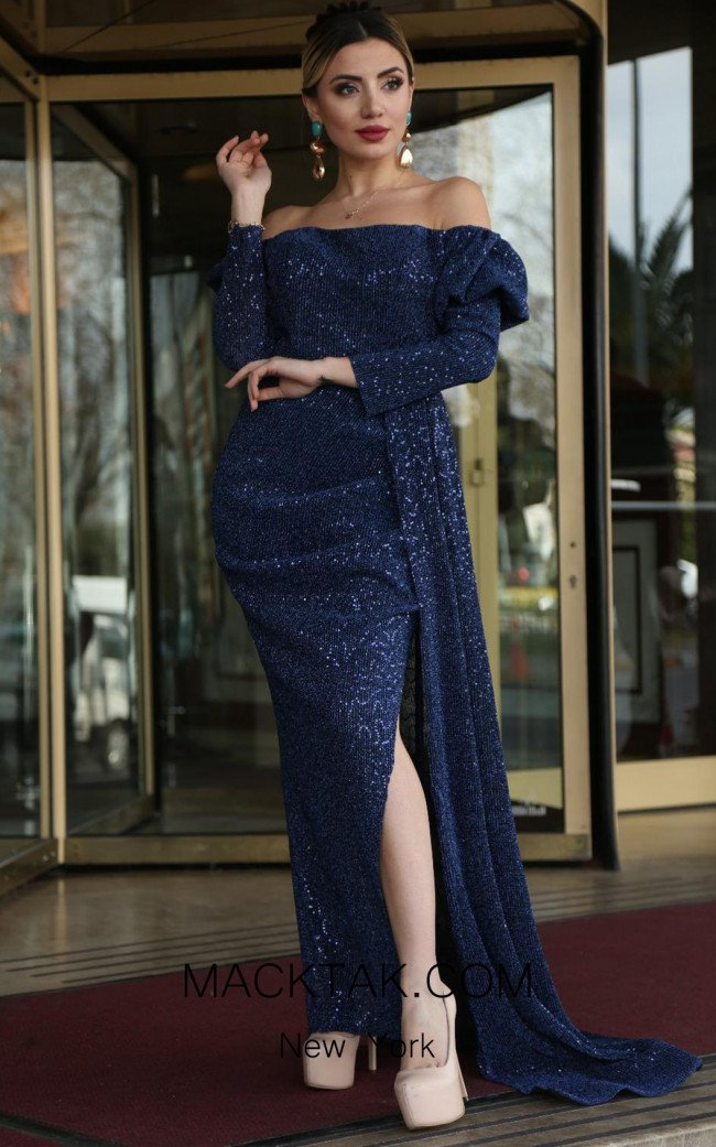 TK DA003 Navy Front Evening Dress