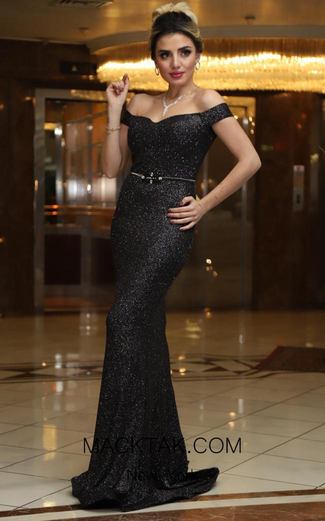 TK DA004 Black Front Evening Dress