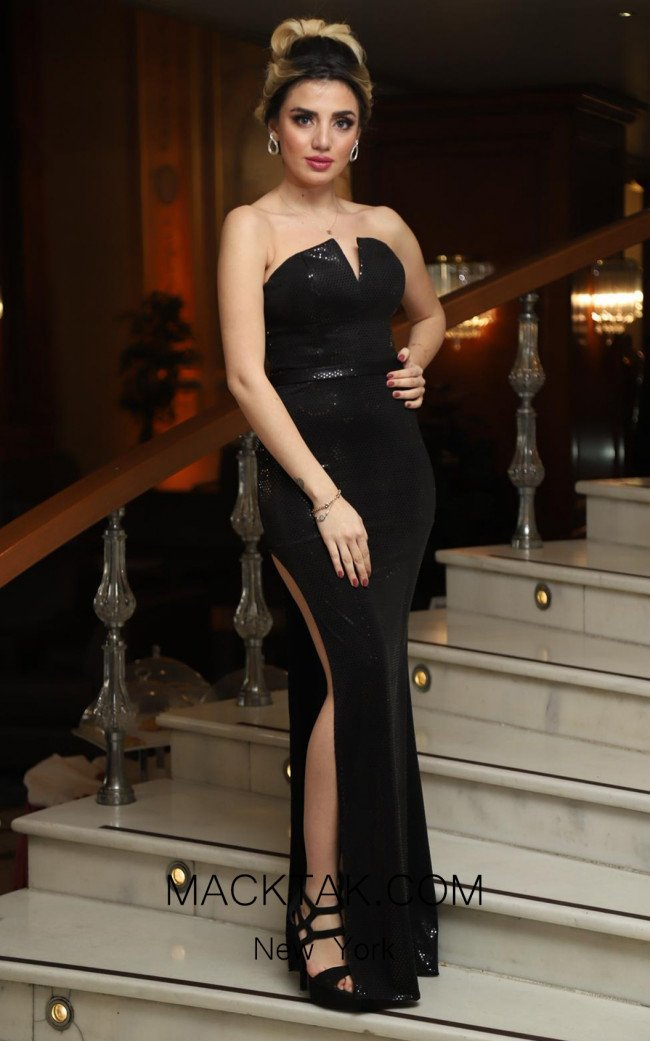 TK DA008 Black Front Evening Dress