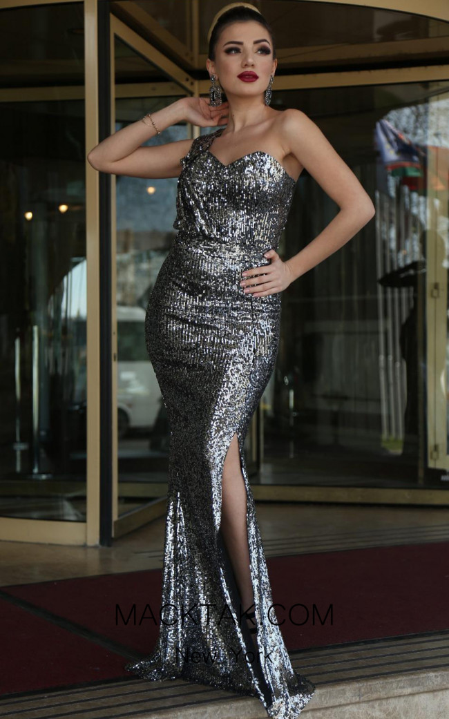 TK DA009 Gray Front Evening Dress