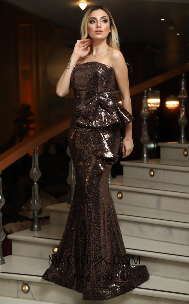 TK DA010 Brown Front Evening Dress