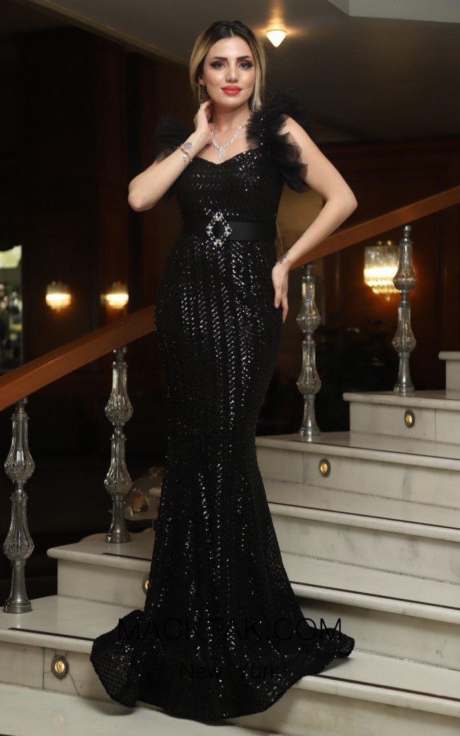 TK DA012 Black Front Evening Dress