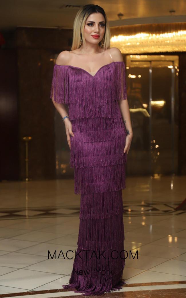 TK DA013 Purple Front Evening Dress