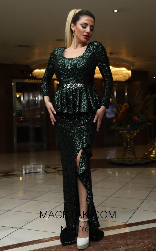TK DA016 Green Front Evening Dress