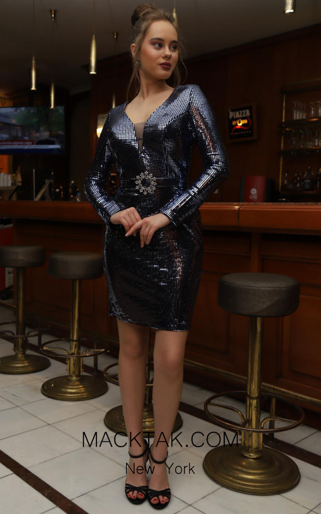 TK DA021 Evening Blue Silver Front Dress