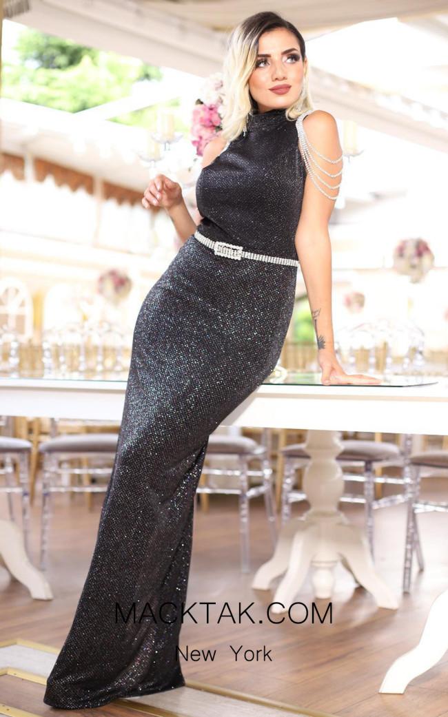 TK DA028 Black Front Evening Dress
