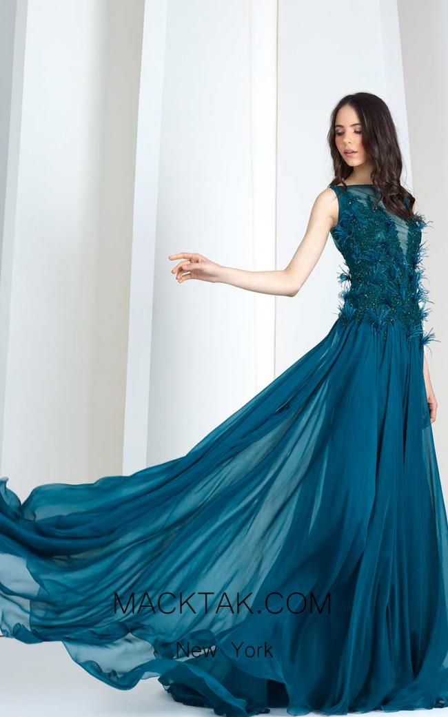 Tony Ward 01 Blue Front Evening Dress