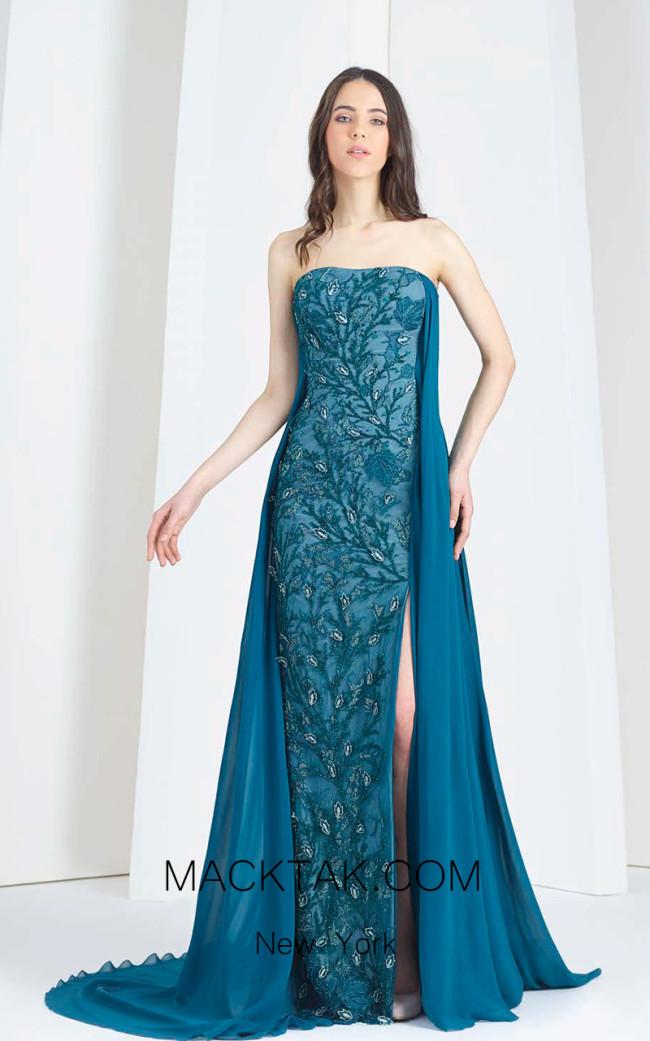 Tony Ward 04 Blue Front Evening Dress