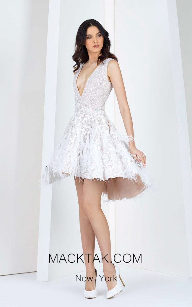 Tony Ward 07 White Front Evening Dress