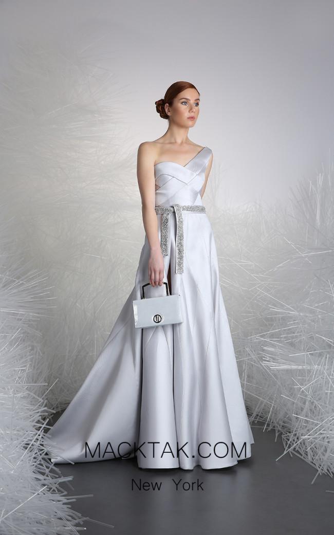 Tony Ward 12 Silver Front Evening Dress